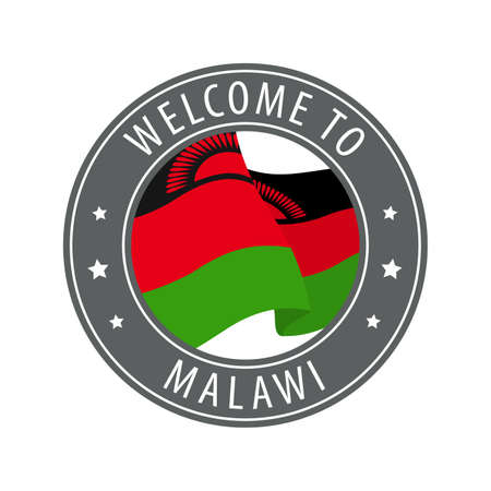 Welcome to Malawi. Gray stamp with a waving country flag. Collection of welcome icons.