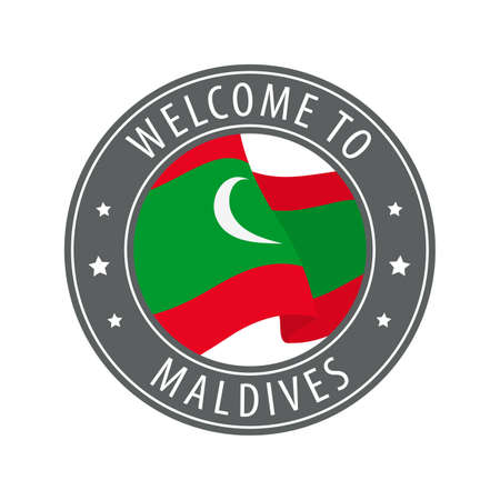 Welcome to Maldives. Gray stamp with a waving country flag. Collection of welcome icons.