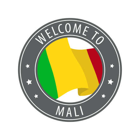 Welcome to Mali. Gray stamp with a waving country flag. Collection of welcome icons.