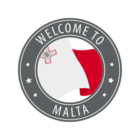 Welcome to Malta. Gray stamp with a waving country flag. Collection of welcome icons.
