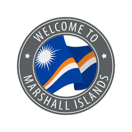 Welcome to Marshall Islands. Gray stamp with a waving country flag. Collection of welcome icons.