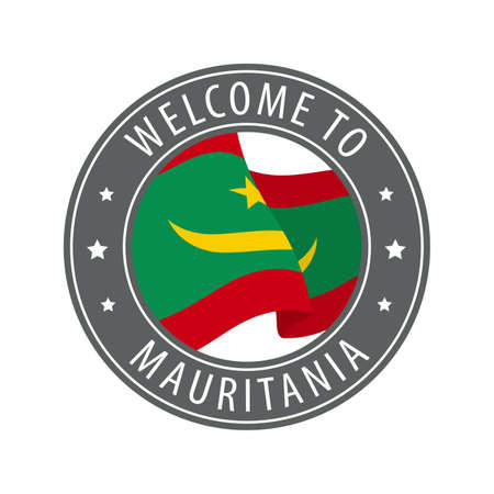 Welcome to Mauritania. Gray stamp with a waving country flag. Collection of welcome icons.