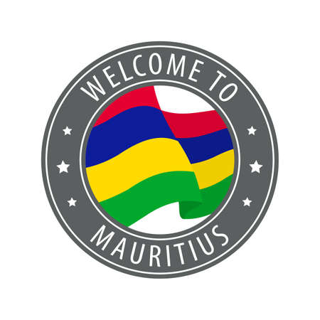 Welcome to Mauritius. Gray stamp with a waving country flag. Collection of welcome icons.