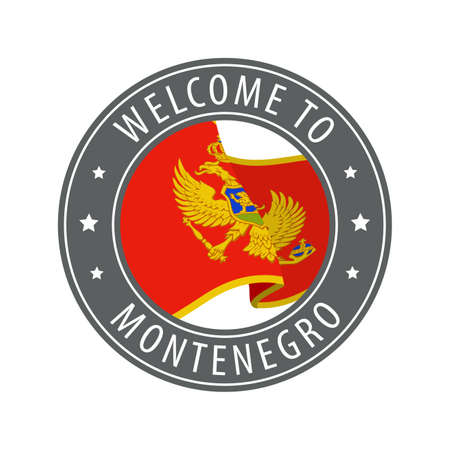 Welcome to Montenegro. Gray stamp with a waving country flag. Collection of welcome icons.