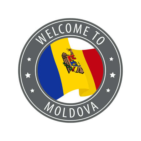 Welcome to Moldova. Gray stamp with a waving country flag. Collection of welcome icons. 矢量图像