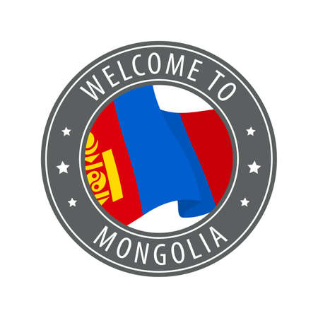 Welcome to Mongolia. Gray stamp with a waving country flag. Collection of welcome icons. 矢量图像
