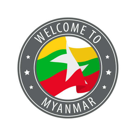 Welcome to Myanmar. Gray stamp with a waving country flag. Collection of welcome icons.
