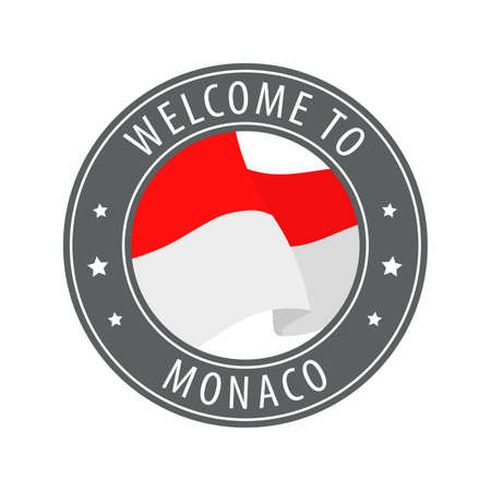 Welcome to Monaco. Gray stamp with a waving country flag. Collection of welcome icons. 矢量图像