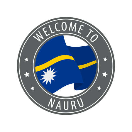 Welcome to Nauru. Gray stamp with a waving country flag. Collection of welcome icons.