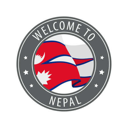 Welcome to Nepal. Gray stamp with a waving country flag. Collection of welcome icons.