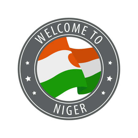 Welcome to Niger. Gray stamp with a waving country flag. Collection of welcome icons.