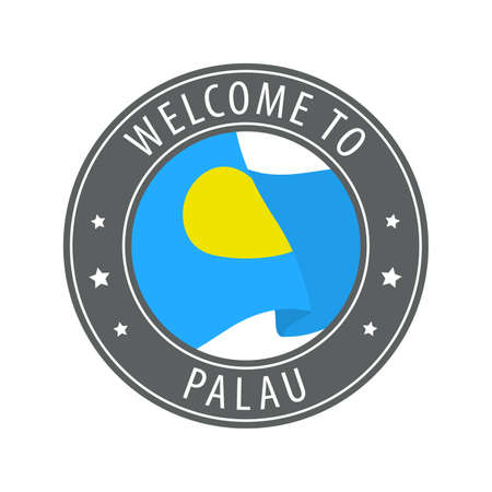 Welcome to Palau. Gray stamp with a waving country flag. Collection of welcome icons.