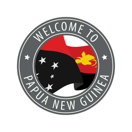Welcome to Papua New Guinea. Gray stamp with a waving country flag. Collection of welcome icons.
