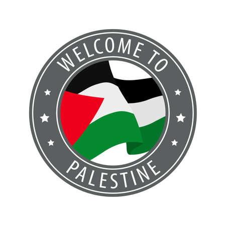 Welcome to Palestine. Gray stamp with a waving country flag. Collection of welcome icons.