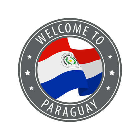 Welcome to Paraguay. Gray stamp with a waving country flag. Collection of welcome icons.