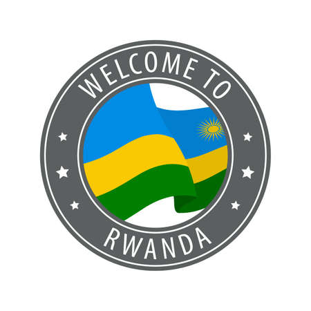 Welcome to Rwanda. Gray stamp with a waving country flag. Collection of welcome icons.