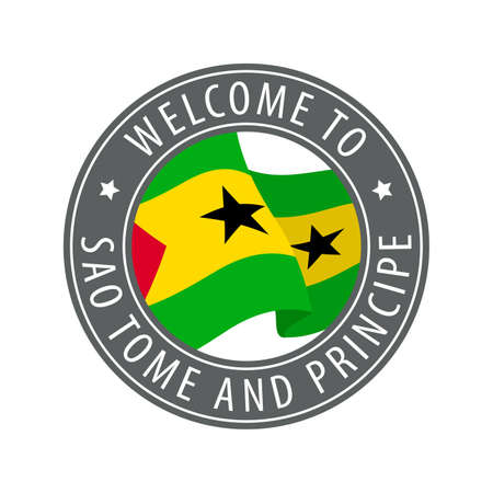 Welcome to Sao Tome and Principe. Gray stamp with a waving country flag. Collection of welcome icons. 矢量图像