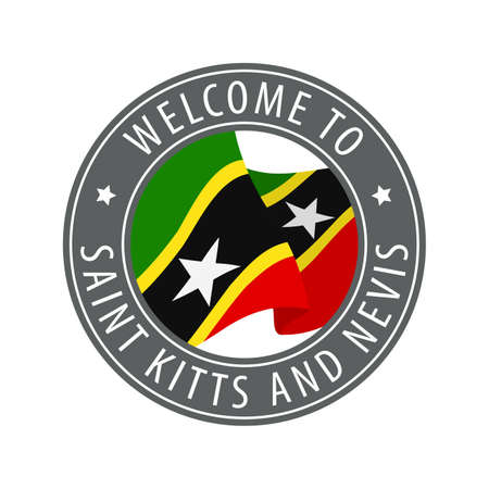 Welcome to Saint Kitts and Nevis. Gray stamp with a waving country flag. Collection of welcome icons.