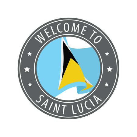Welcome to Saint Lucia. Gray stamp with a waving country flag. Collection of welcome icons. 矢量图像