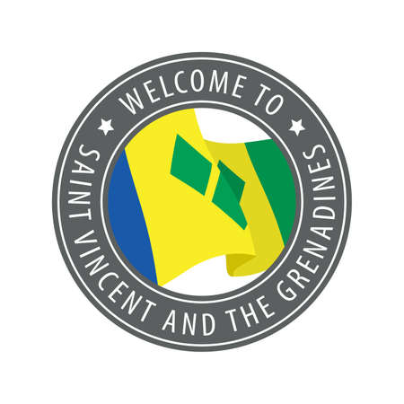 Welcome to Saint Vincent and the Grenadines. Gray stamp with a waving country flag. Collection of welcome icons. 矢量图像