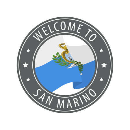 Welcome to San Marino. Gray stamp with a waving country flag. Collection of welcome icons. 矢量图像