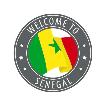 Welcome to Senegal. Gray stamp with a waving country flag. Collection of welcome icons.