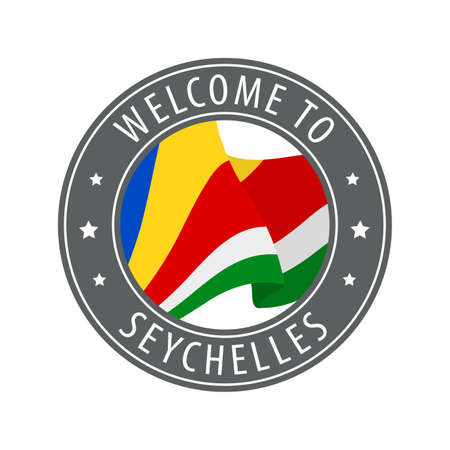 Welcome to Seychelles. Gray stamp with a waving country flag. Collection of welcome icons. 矢量图像