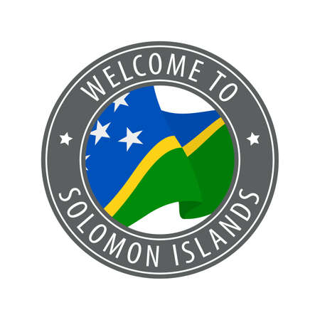 Welcome to Solomon Islands. Gray stamp with a waving country flag. Collection of welcome icons.