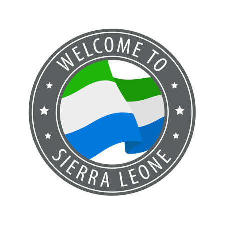Welcome to Sierra Leone. Gray stamp with a waving country flag. Collection of welcome icons.