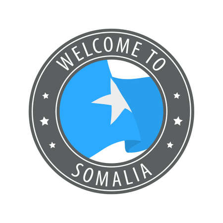 Welcome to Somalia. Gray stamp with a waving country flag. Collection of welcome icons.