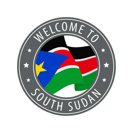 Welcome to South Sudan. Gray stamp with a waving country flag. Collection of welcome icons.