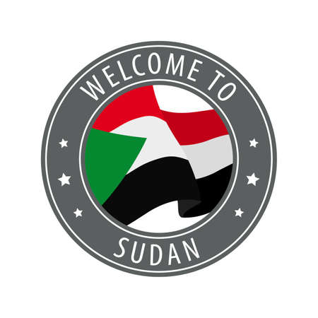 Welcome to Sudan. Gray stamp with a waving country flag. Collection of welcome icons. 矢量图像