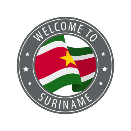 Welcome to Suriname. Gray stamp with a waving country flag. Collection of welcome icons.