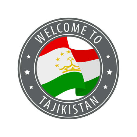 Welcome to Tajikistan. Gray stamp with a waving country flag. Collection of welcome icons. 矢量图像