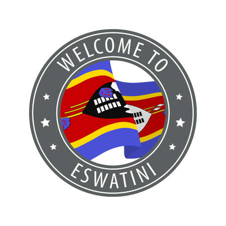 Welcome to Eswatini. Gray stamp with a waving country flag. Collection of welcome icons. 矢量图像