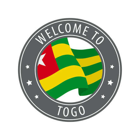 Welcome to Togo. Gray stamp with a waving country flag. Collection of welcome icons.