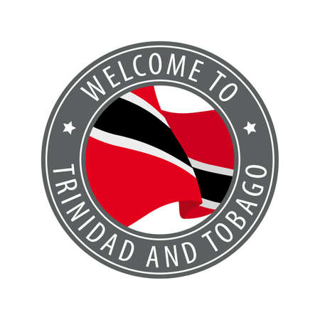 Welcome to Trinidad and Tobago. Gray stamp with a waving country flag. Collection of welcome icons.