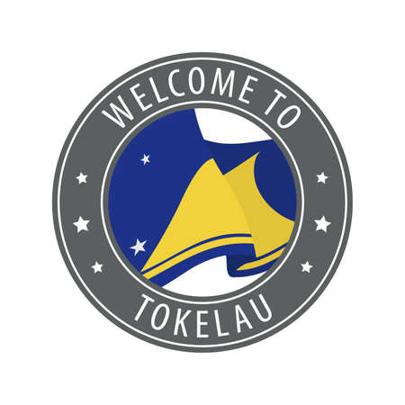 Welcome to Tokelau. Gray stamp with a waving country flag. Collection of welcome icons. 矢量图像
