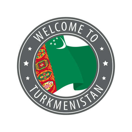 Welcome to Turkmenistan. Gray stamp with a waving country flag. Collection of welcome icons.