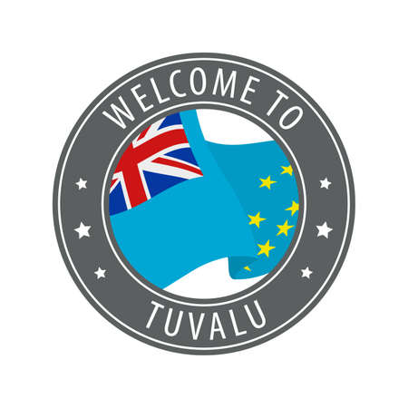Welcome to Tuvalu. Gray stamp with a waving country flag. Collection of welcome icons.