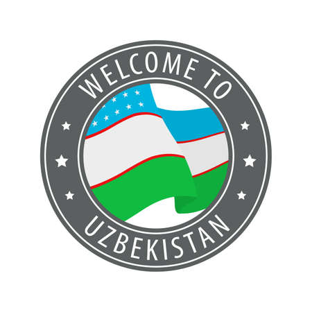 Welcome to Uzbekistan. Gray stamp with a waving country flag. Collection of welcome icons.
