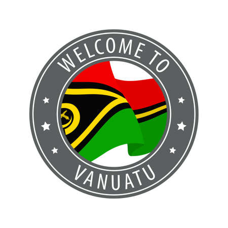 Welcome to Vanuatu. Gray stamp with a waving country flag. Collection of welcome icons.