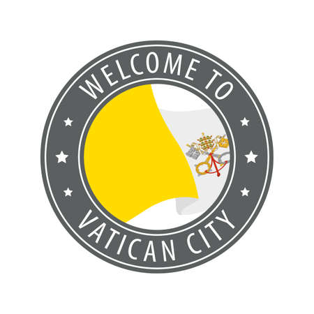 Welcome to Vatican City. Gray stamp with a waving country flag. Collection of welcome icons.