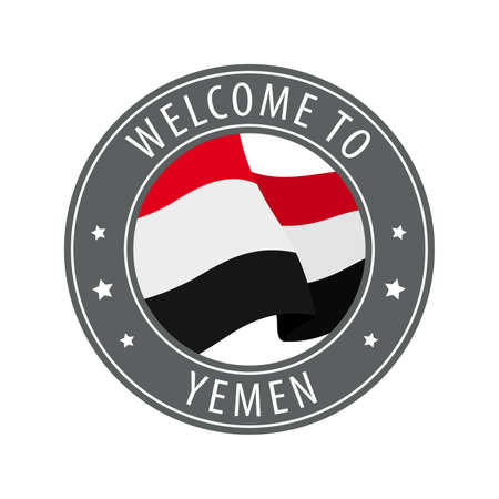 Welcome to Yemen. Gray stamp with a waving country flag. Collection of welcome icons.