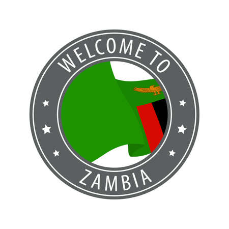 Welcome to Zambia. Gray stamp with a waving country flag. Collection of welcome icons.