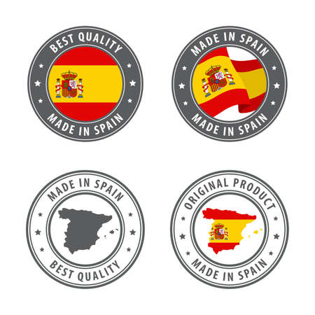 Made in Spain - set of labels, stamps, badges, with the Spain map and flag. Best quality. Original product. Vector illustration Illusztráció