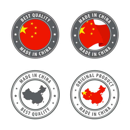 Made in China - set of labels, stamps, badges, with the China map and flag. Best quality. Original product. Vector illustration