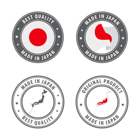 Made in Japan - set of labels, stamps, badges, with the Japan map and flag. Best quality. Original product. Vector illustration Illusztráció