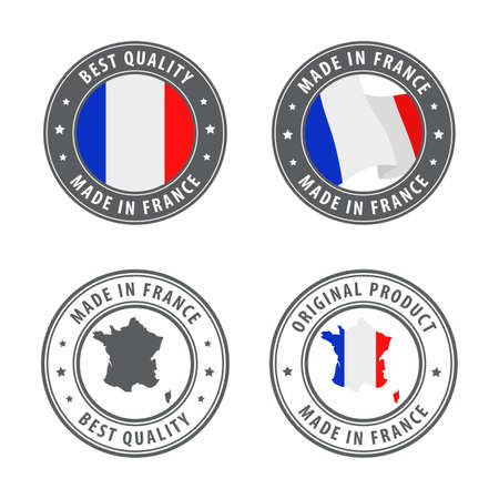 Made in France - set of labels, stamps, badges, with the France map and flag. Best quality. Original product. Vector illustration