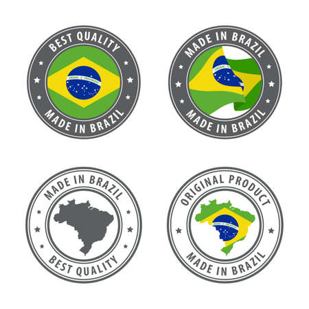 Made in Brazil - set of labels, stamps, badges, with the Brazil map and flag. Best quality. Original product. Vector illustration